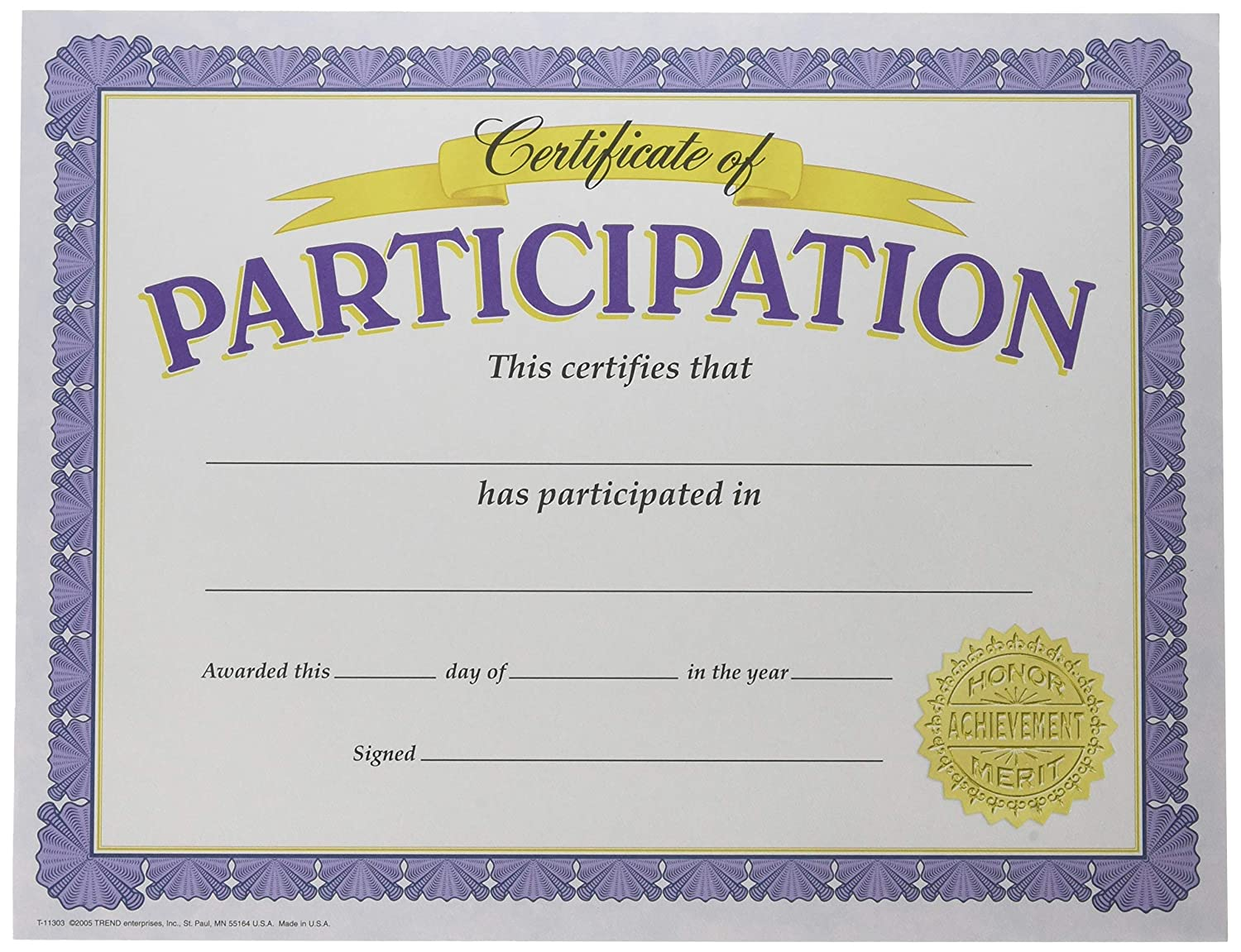 TREND enterprises, Inc. Certificate of Participation Classic Certificates, 30 ct T-11303