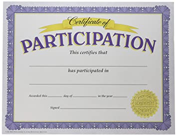photo relating to Printable Certificates of Participation identify Fashion firms, Inc. Certification of Participation Clic Certificates, 30 ct