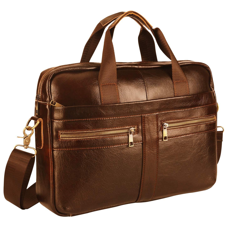 Leather Briefcase Laptop Bag Messenger Shoulder Work Bag Crossbody Handbag for Business Travelling (BFZ-LBROWN)