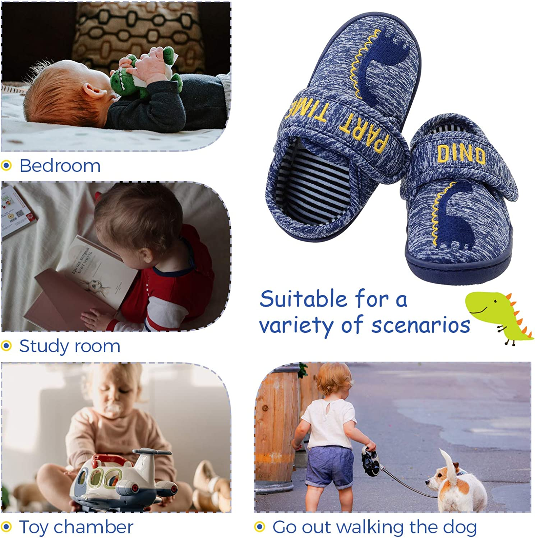 Vonair Boys Slippers Toddler Animal Indoor Outdoor Cartoon House Shoes Slip-on Kids Bedroom Slippers