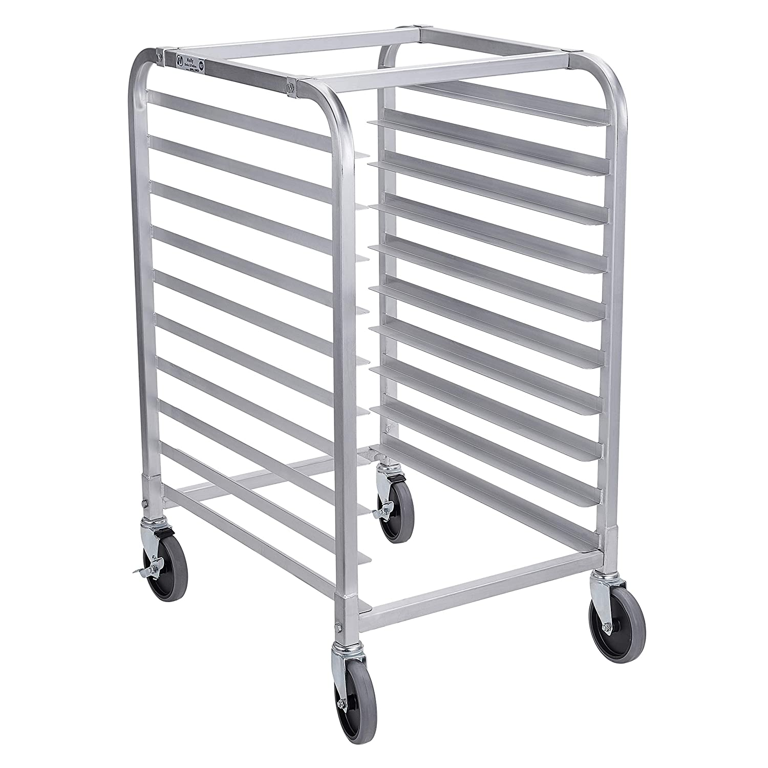 """Bun Pan Rack 10 Tier with Wheels, Commercial Bakery Racking of Aluminum for Full & Half Sheet - Kitchen, Restaurant, Cafeteria, Pizzeria, Hotel and Home, 26"""" L x 20"""" W x 38"""" H"""