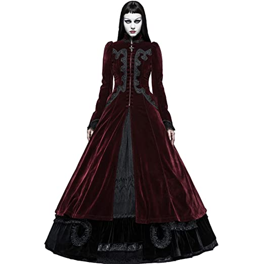 ef436ee26ae7 Punk Rave Women s Wine Red Velvet Gothic Victorian Palace Swallow Tail Long  Dress Coat (X