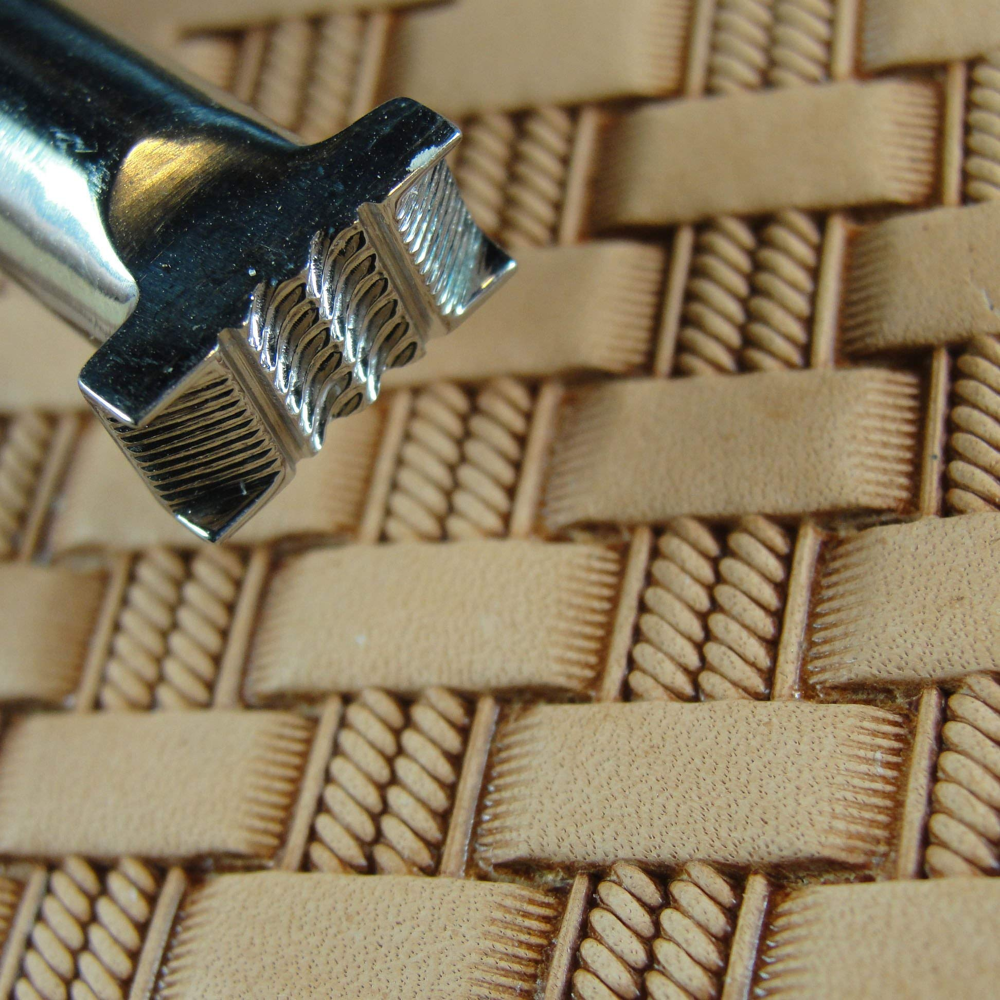 Stainless Steel Barry King - #3 Double Rope Basket Weave Stamp (Leather Tool) by Pro Leather Carvers