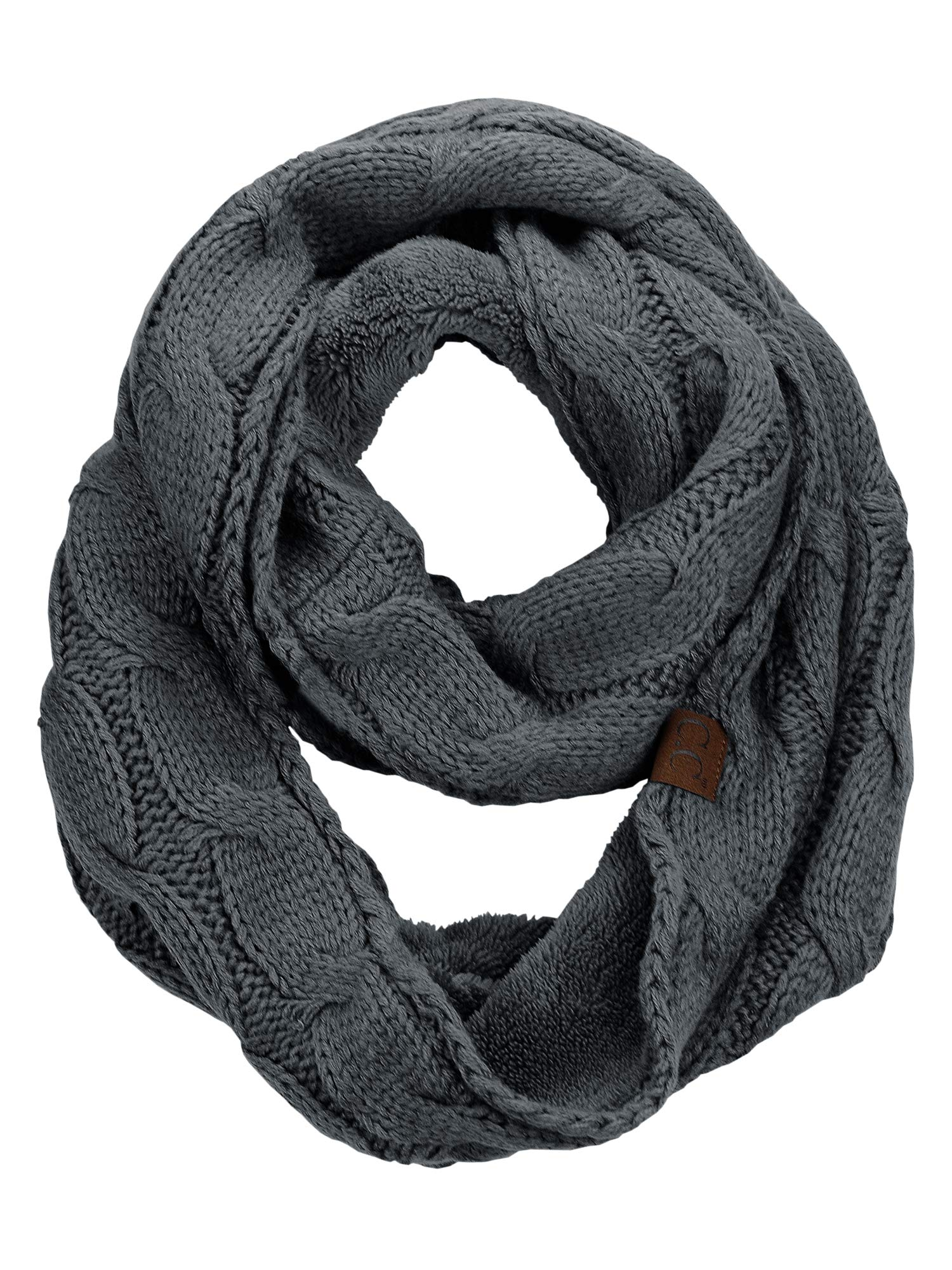 C.C Women's Winter Cable Knit Sherpa Lined Warm Infinity Pullover Scarf, Dark Melange Grey
