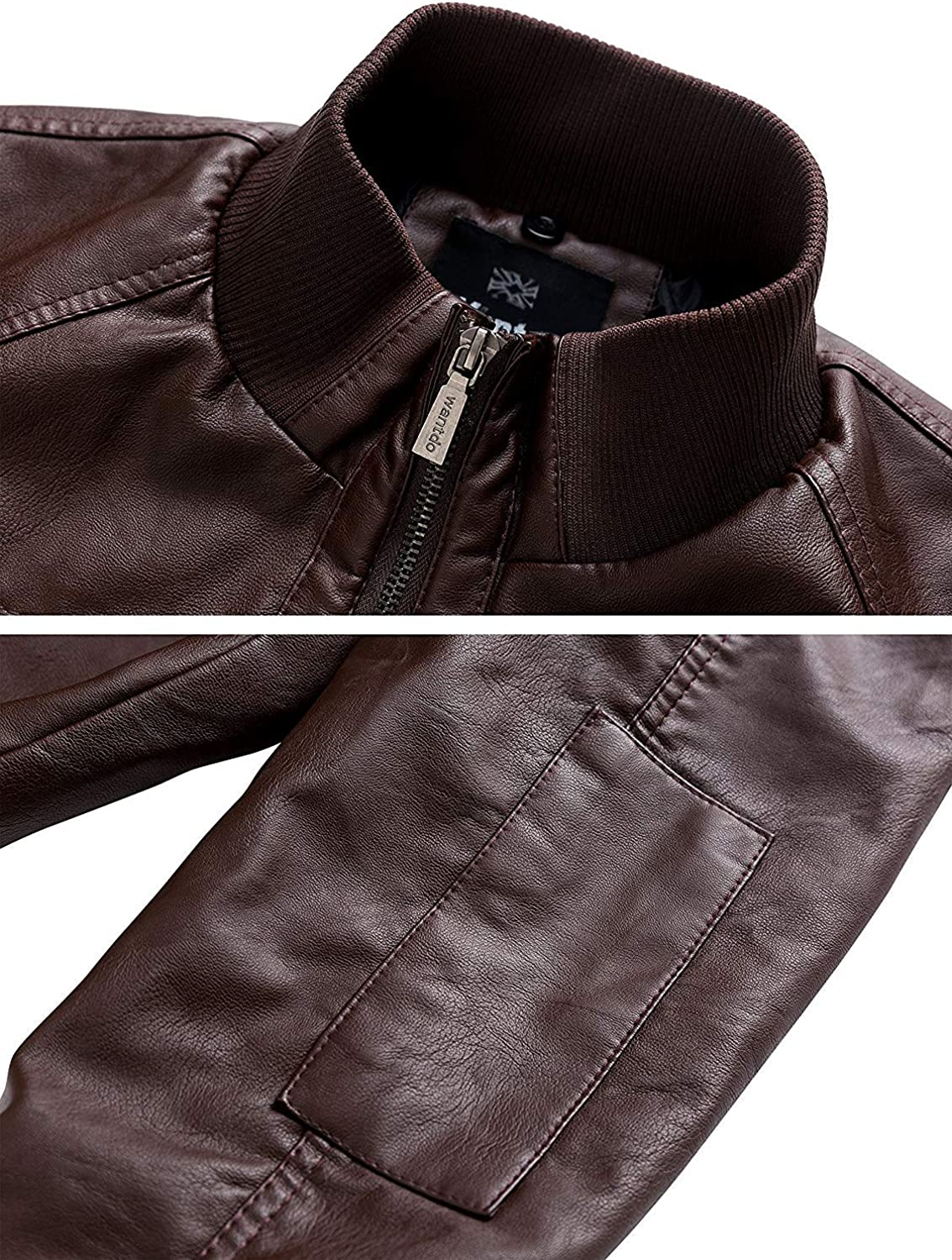 Wantdo Mens Leather Jacket with Removable Hood