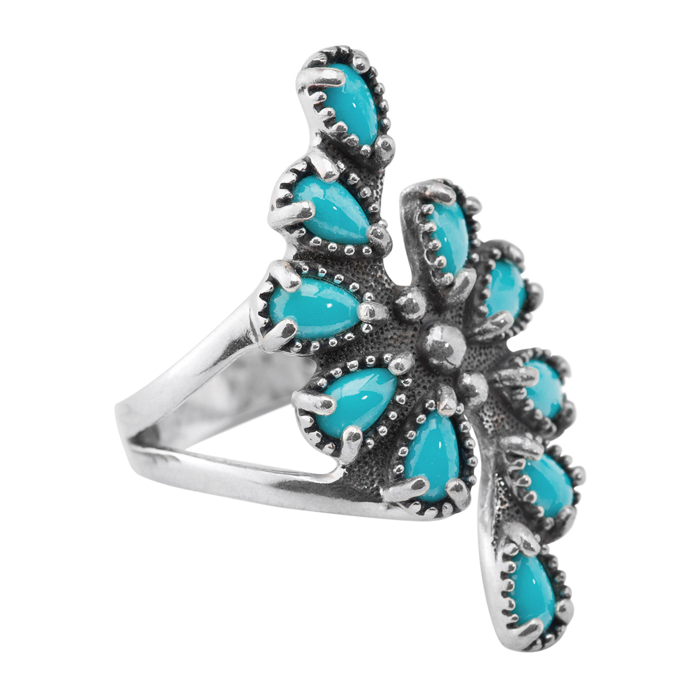 American West 925 Genuine Sterling Silver Sleeping Beauty Turquoise Spiral Ring