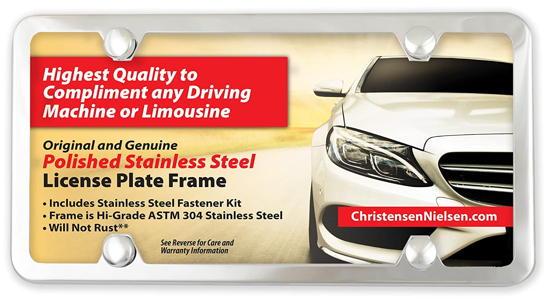 Amazon.com: Chrome License Plate Frame Stainless Steel, Slim 4 Holes ...