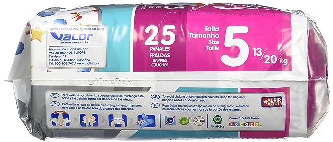Moltex Premium Bolsa de Pañales, Talla 5, 13/20 kg - 25 Pañales: Amazon.es: Salud y cuidado personal