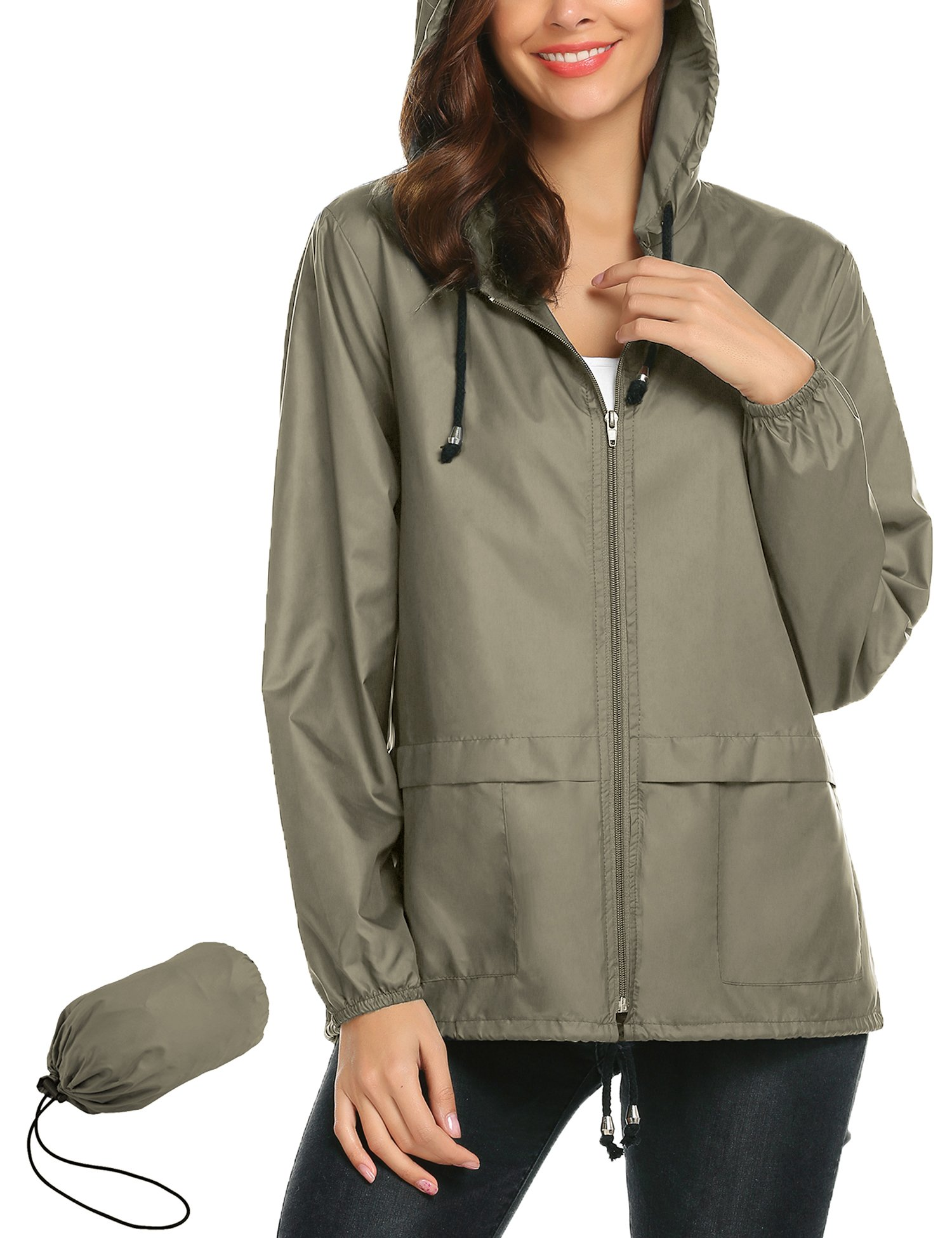Lightweight Waterproof Raincoat For Women Windbreaker Packable Outdoor Hooded Rain Jacket (M, Army Green)