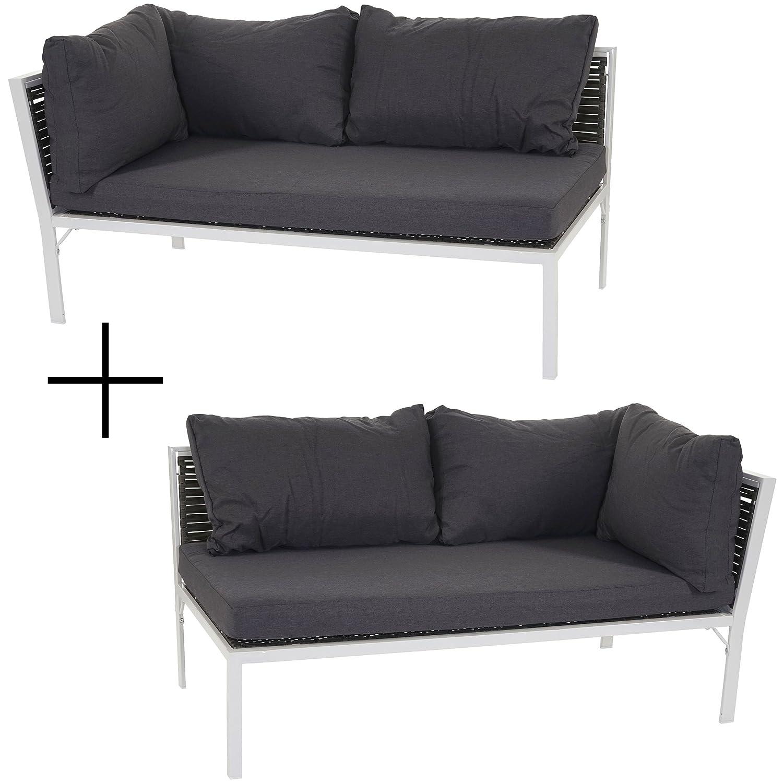 Poly-Rattan Sofa Delphi, Loungesofa Couch, Alu Kissen anthrazit