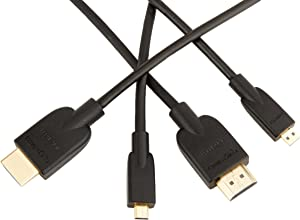 AmazonBasics High-Speed Mini-HDMI to HDMI TV Adapter Cable - 3 Feet (2-Pack)