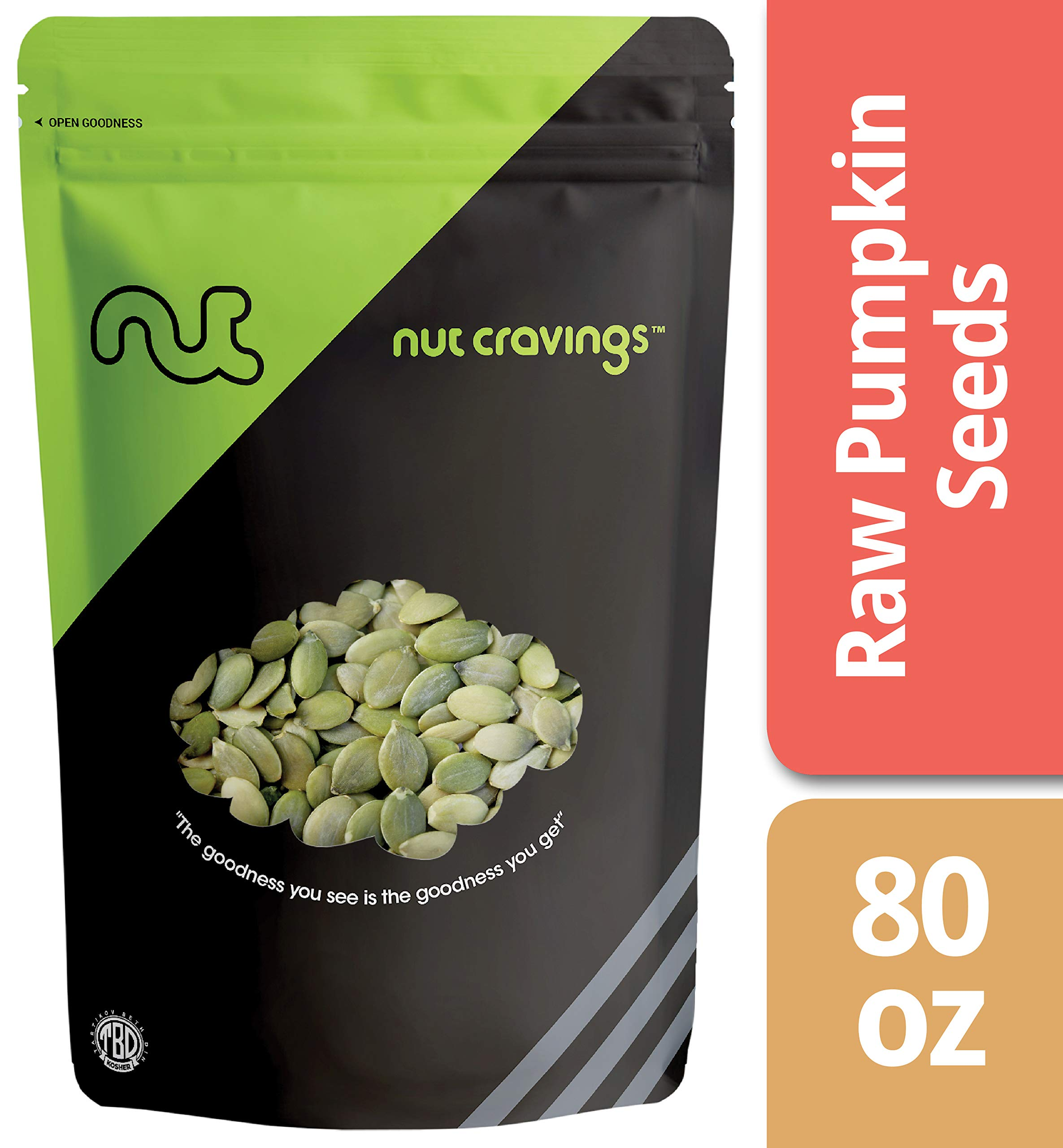 Nut Cravings - Raw Organic Pumpkin Seeds (5 Pounds) - Raw Pepitas With No Shell - 80 Ounce by Nut Cravings