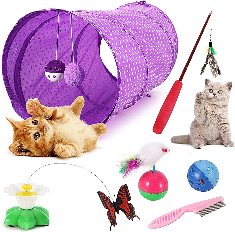 Emooqi Juguete Gato, Juguete Gato, Varita De Juguete para Gatos, Juguete De Plumas De Gato Interactivo Juguete Varita De con 6 Piezas Diferentes De Juguete Divertido Juguetes para Mascotas Gato