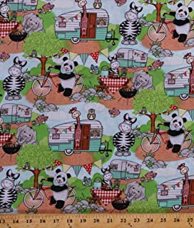 Bazooples Animals Campout Panda Elephant Giraffe elephant Panel Cotton Fabric
