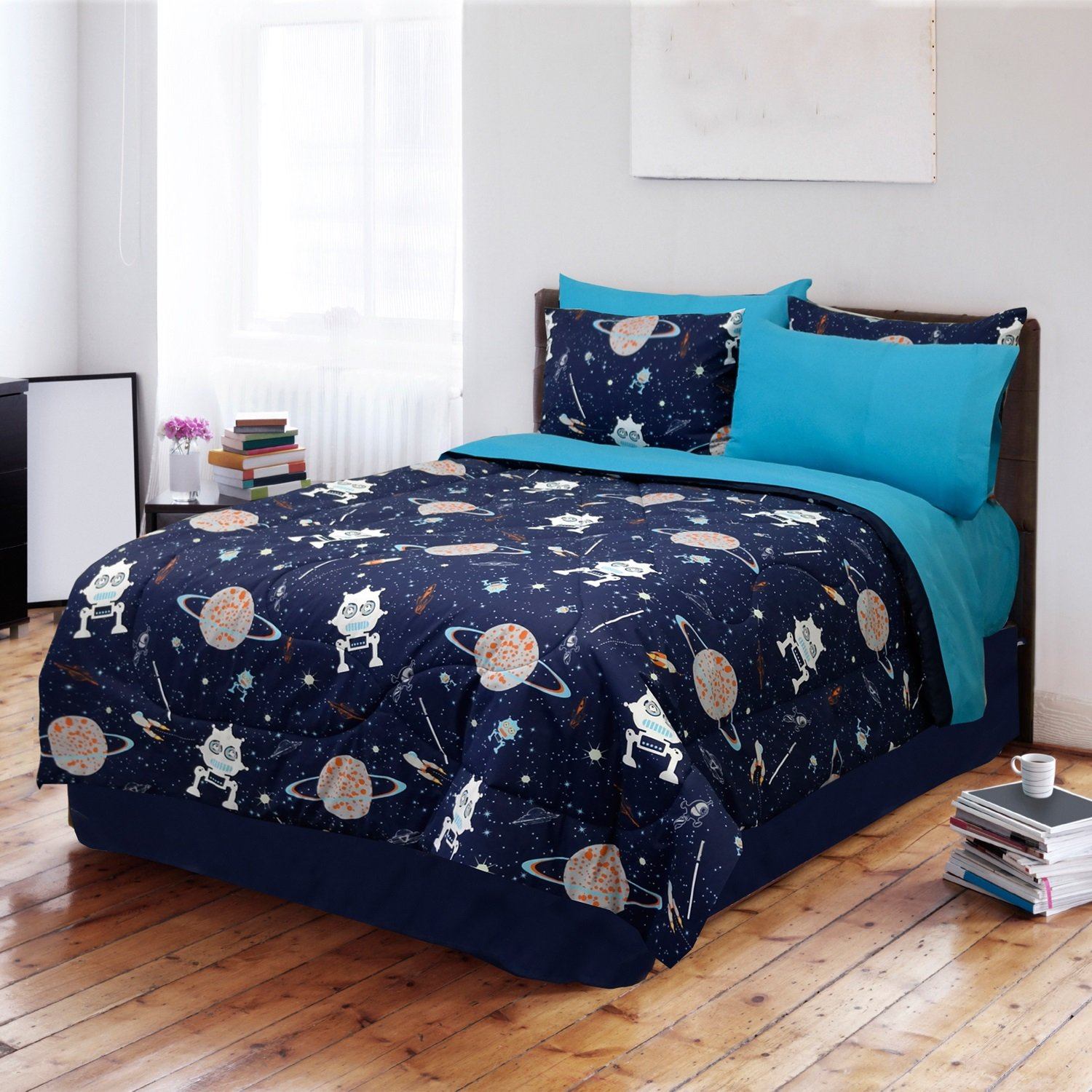 3 Piece Glow in The Dark Galaxy Themed Comforter Set Twin Size, Featuring Aliens Stars Outer Space Invaders Planets Saturn Milky Way Inspired, Colorful Solar System Kids Bedding, Blue, Multicolor