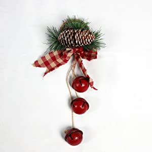 SHATCHI Hanging Golden/Silver/Red/Rustic Bells with Ribbon, Berries and Pinecones Christmas Home Wall Door Jingle Xmas Holiday DIY Decorations – 46cm/27cm, 27 cm