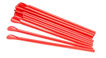 "Perfect Stix Concession Spoon Straw, Unwrapped, 8"" Length, Red (Pack of 300)"