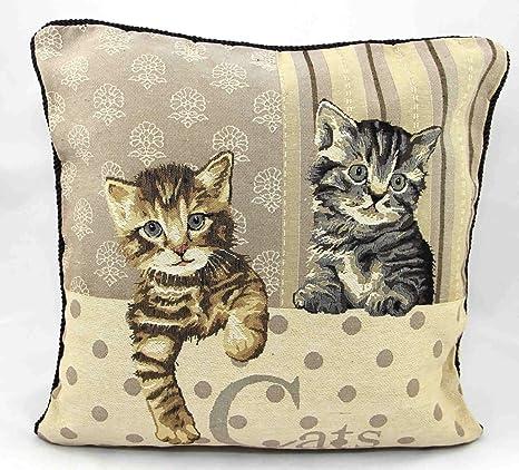 fundas de cojines, fundas de colchón tapicería de la vendimia, gatos, 45cm x