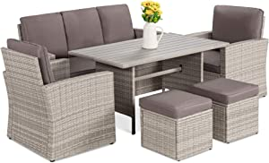 Best Choice Products 7-Seater Conversational Wicker Sofa Dining Table, Outdoor Patio Furniture Set w/Modular 6 Pieces, Cushions, Protective Cover Included - Gray/Gray