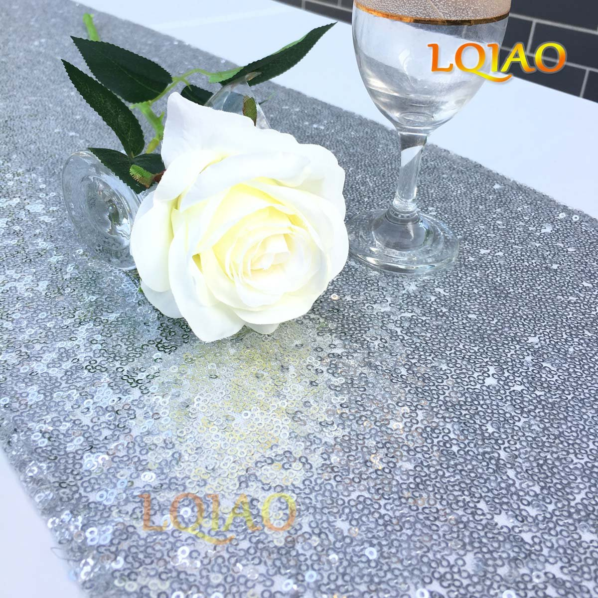 LQIAO Luxury Table Runner 12x108in, Silver Sequin Table Runner Wedding Decoration Sparkly Bling Table Runners, Glitz Sequin Table Runner for Christmas Wedding&Events by Linen Clubs, Pack of 20 PCS by LQIAO