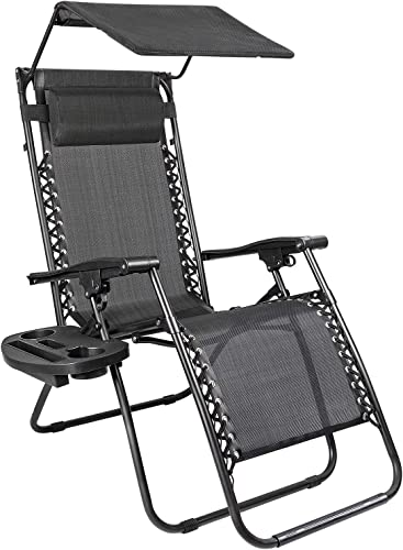 Devoko Patio Zero Gravity Chair Outdoor Recliner Lounge Chair with W Folding Canopy Shade and Cup Holder Black