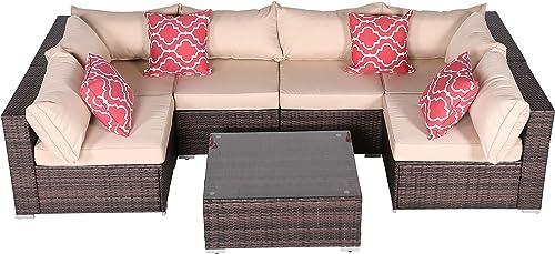 Do4U 7 Pieces Outdoor Patio PE Rattan Wicker Sofa Sectional Furniture Set Conversation Set Seat Cushions Glass Coffee Table| Patio