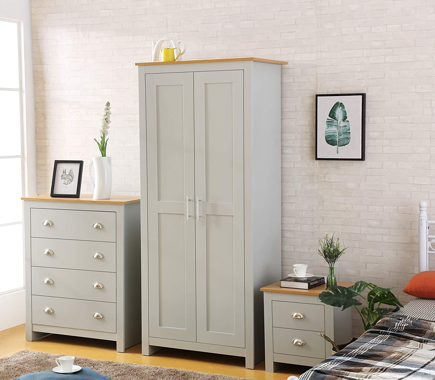 Harmin Country Supreme Grey With Oak 3 Piece Bedroom Furniture Set Soft Close Wardrobe Chest Bedside Amazon Co Uk Kitchen Home