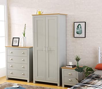 Phenomenal Harmin Ltd Country Supreme Grey With Oak 3 Piece Bedroom Furniture Set Soft Close Wardrobe Chest Bedside Download Free Architecture Designs Rallybritishbridgeorg