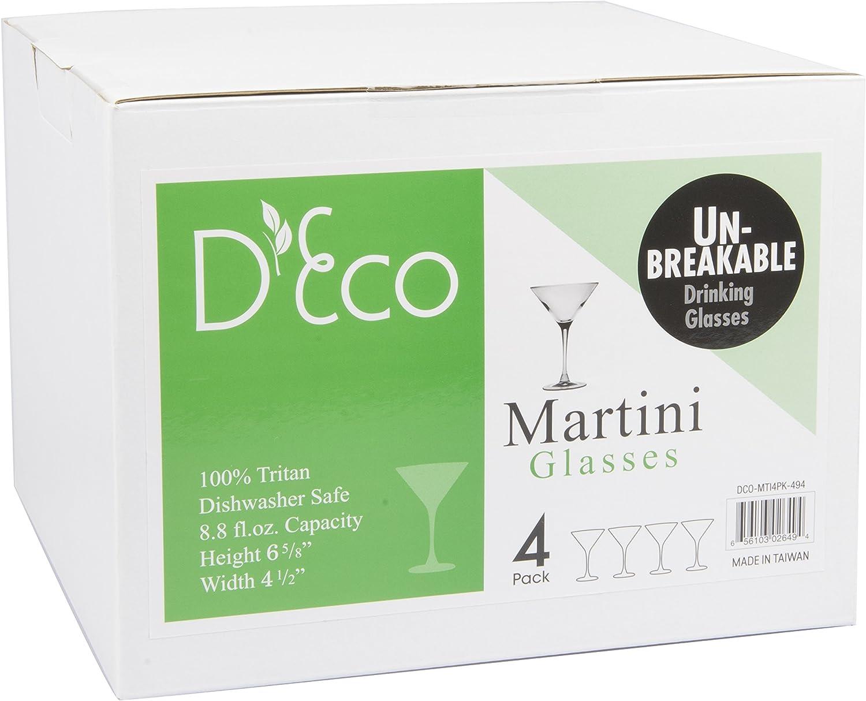 Dishwasher Safe Unbreakable Martini Glasses Set of 4 Shatterproof Reusable 100/% Tritan