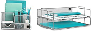 Mindspace Office Desk Organizer with 6 Compartments + 2 Tier Stackable Letter Tray | The Mesh Collection, Silver