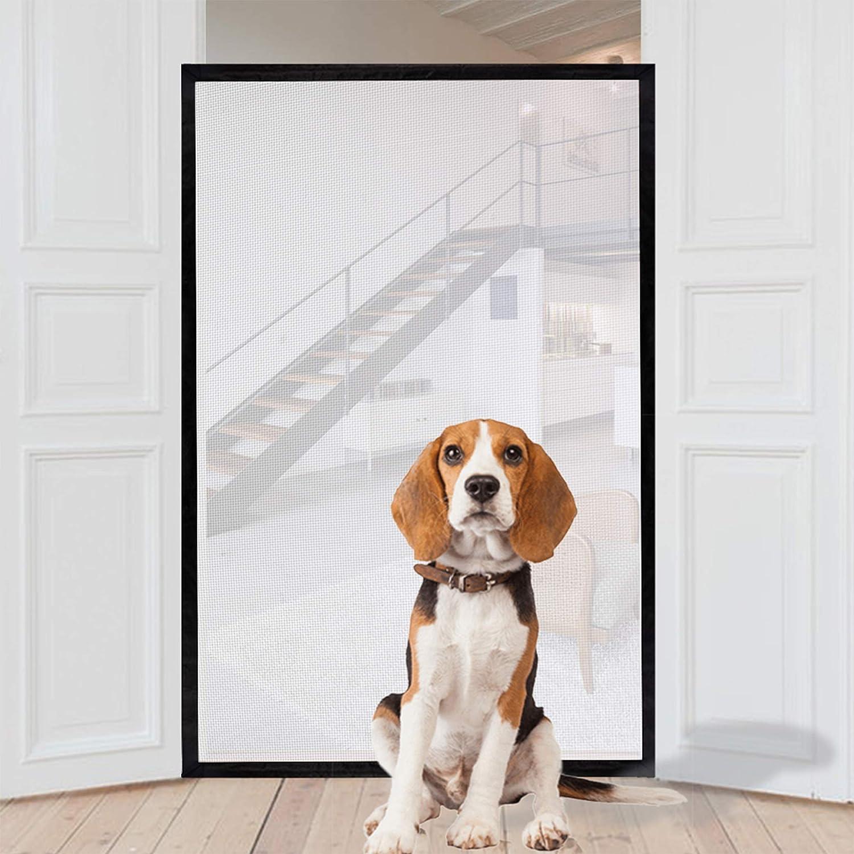 Puerta mágica para perros, portón de seguridad portátil plegable de malla de 150 cm x 110 cm, se adapta a la mayoría de puertas interiores y exteriores, protección segura para perros, gatos, bebés