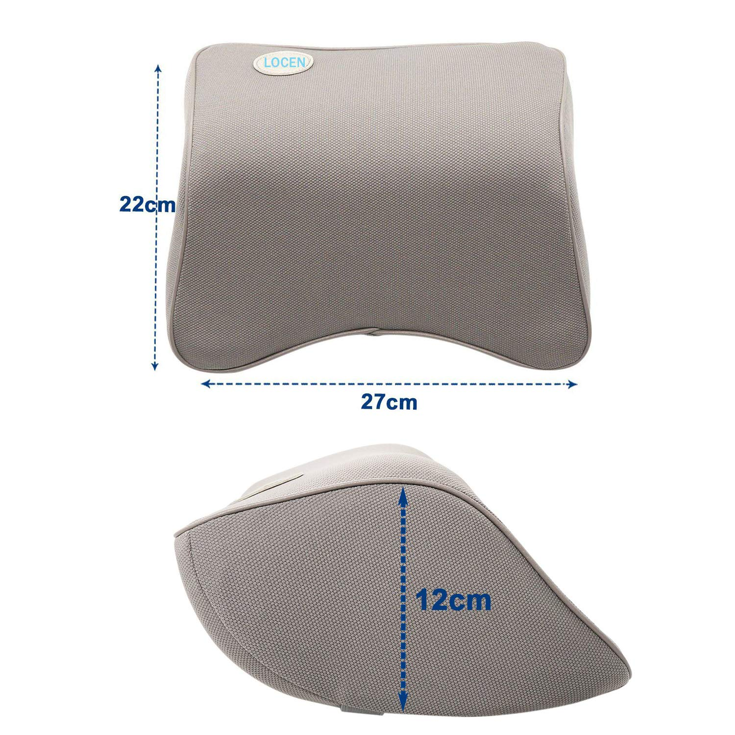 LOCEN Memory Foam Car Cushion Neck Support Travel Pillow Fits Car Home Office Chair - Comfort Breathable Mesh - Grey