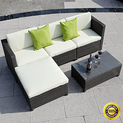 Amazon Com Colibrox 5pc Outdoor Patio Sofa Set Furniture Pe Wicker