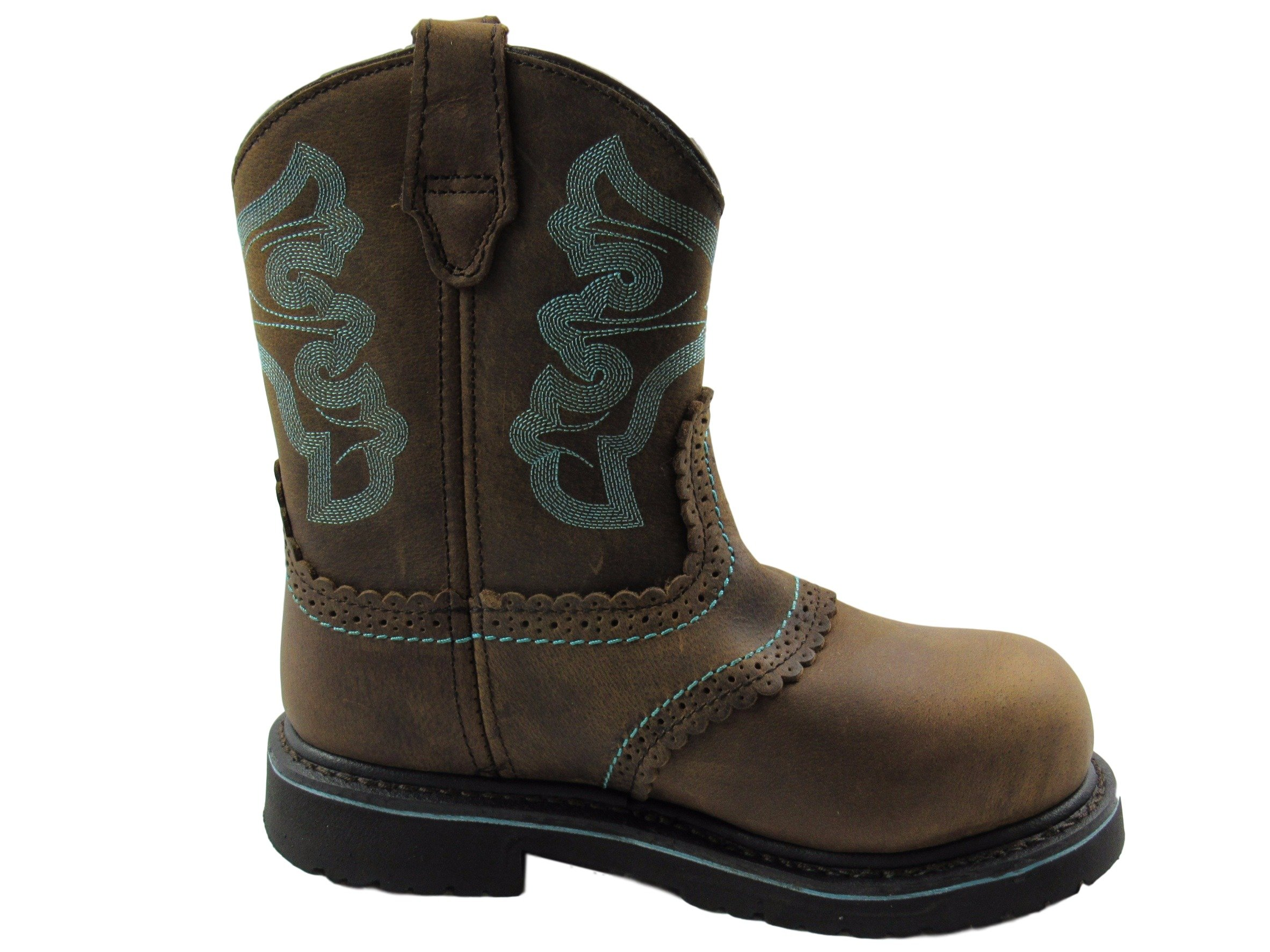 Hytest Womens Western Wellington Steel Toe, Electric Hazard, Non-Slip Safety Boot (6.5 W, Brown/Blue Accent) by Wolverine
