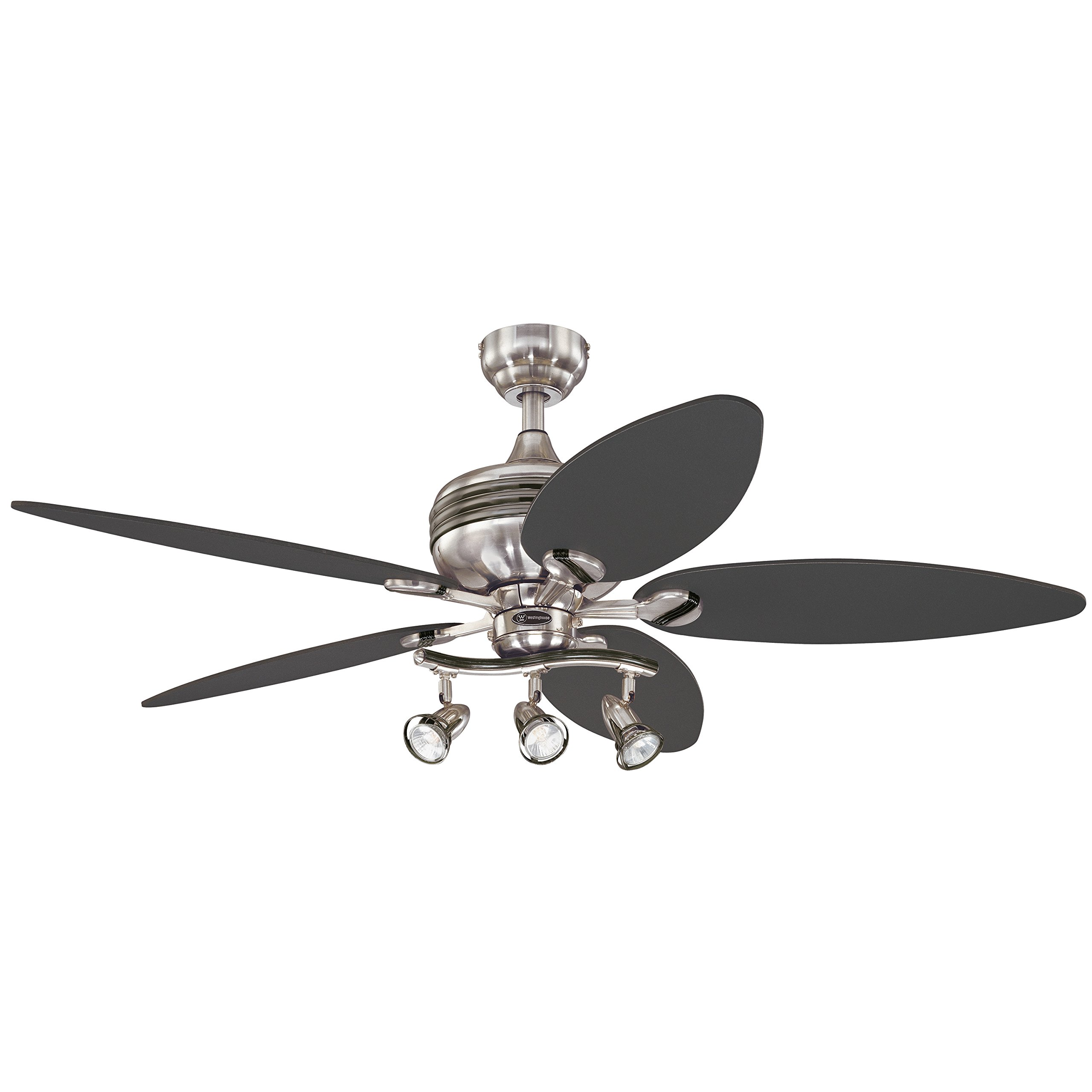 Westinghouse 7234220 Xavier II 52-Inch Five-Blade Indoor Ceiling Fan with Three Spot Lights, Brushed Nickel with Gun Metal Accents