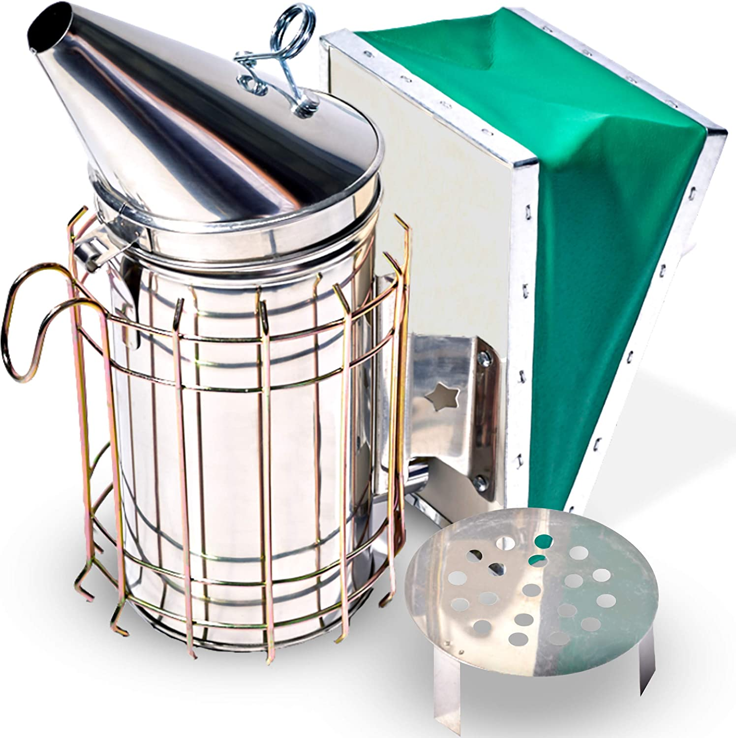 Stainless Steel Bee Smoker with Heat Chamber, Burn Shield, Green Bellow, and Heavy Duty Feature