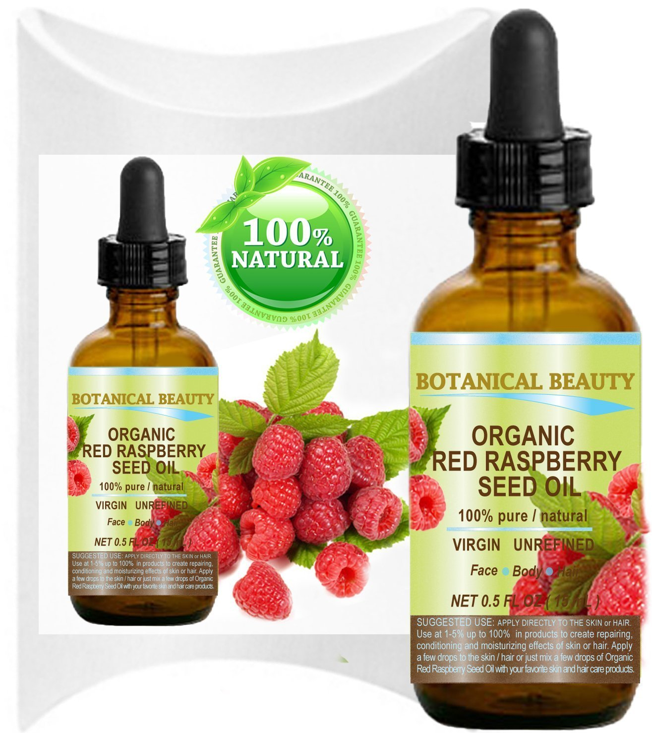 Botanical Beauty Organic Red Raspberry Seed Oil for Face, Body and Hair, 0.5 Fl.oz