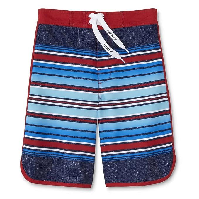 d1388726ea Amazon.com: Joe Boxer Boys Red White & Blue Striped Swim Trunks ...