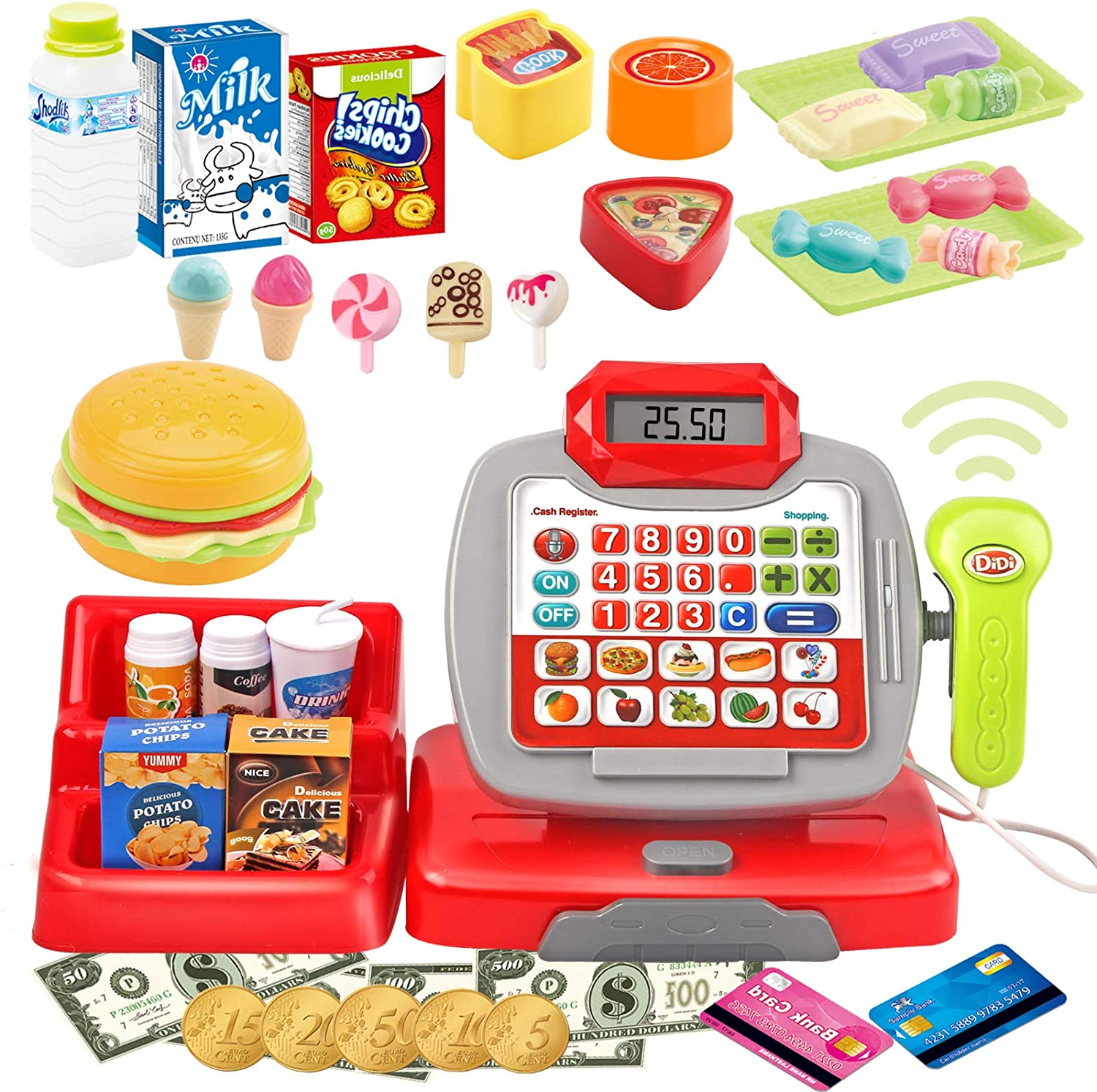 Voccim Toy Cash Register for Kids - Pretend Play Supermarket Cashier Toy with Scanner, Calculator, Credit Card, Money, Play Food and Grocery Toys, Learning Interactive Toys for Boys Girls