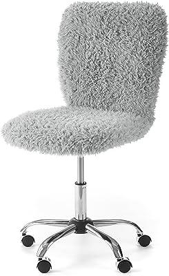 Urban Shop WK657595 Faux Fur Rolling Task Chair, Gray