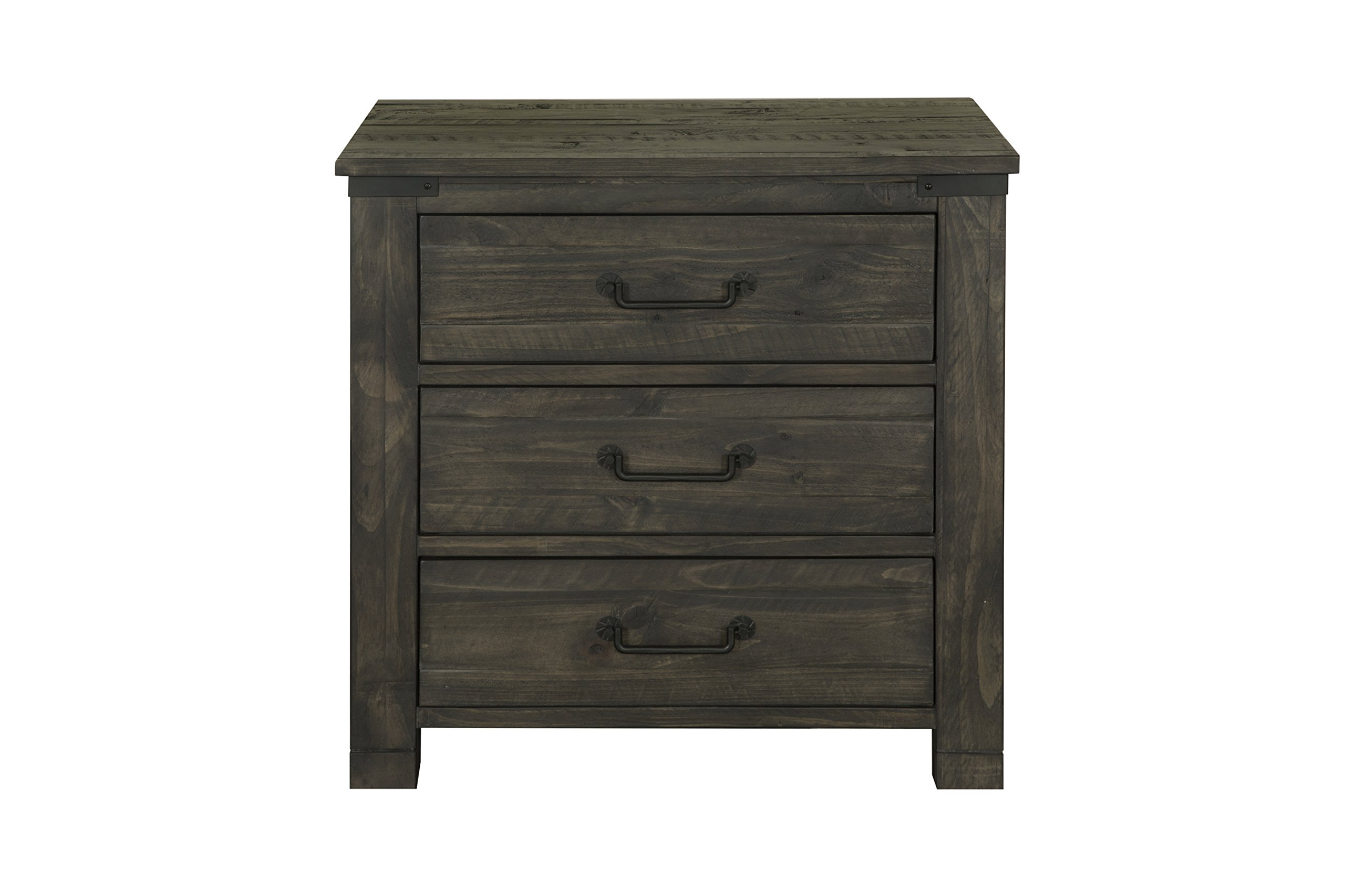 Magnussen B3804-01 Abington 3 Drawer Nightstand Weathered Charcoal - Constructed using solid wood and Select hardwood veneers increases strength and durability, while ensuring longevity Multi-step finishing process achieves a durable, high Quality Finish that enhances the natural beauty of the wood Features 3 spacious drawers including a felt lined Top drawer - bedroom-furniture, nightstands, bedroom - 81NyA97VxbL -