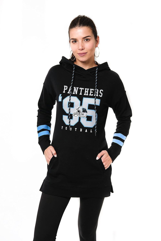 NFL Carolina Panthers Ultra Game Womens L//S FLACH TUNIC P//O W//HOOD Black X-Large