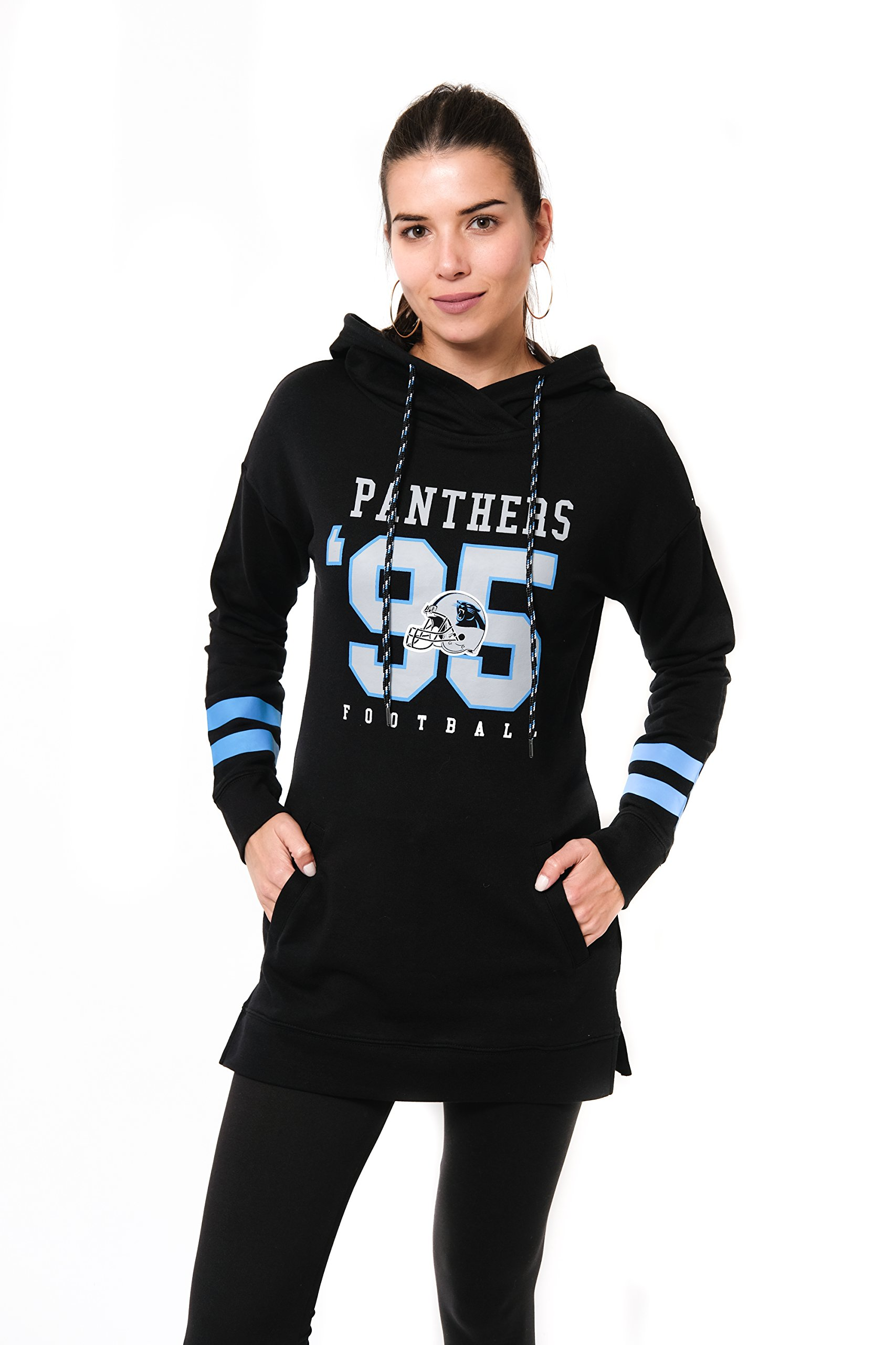Ultra Game NFL Carolina Panthers Women's Tunic Hoodie Pullover Sweatshirt Terry, Team Color, Black, Small