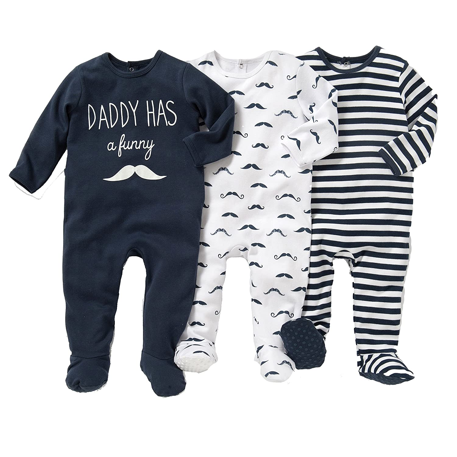 La Redoute Collections Big Boys Pack of 3 Cotton Striped//Moustache//Slogan Print Sleepsuits Birth-3 Yrs
