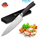 Kitchen Knife - PAUDIN N2 German Stainless Steel 8 inch Chef Knife with Sharp Edge and Ergonomic Wood Handle, professional 5Cr15Mov kitchen knife for Pro & Home Chefs