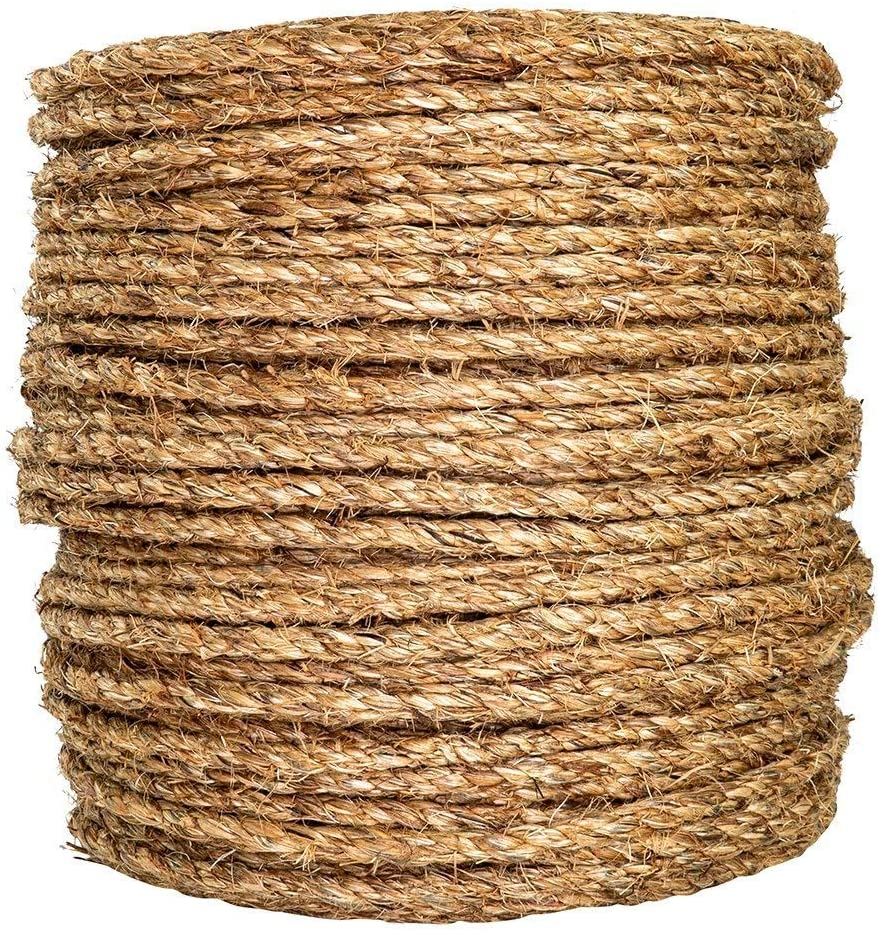 SGT KNOTS Twisted Manila Rope 1//4 inch x 50 feet 3 Strand Natural Fiber Rope for Indoor and Outdoor
