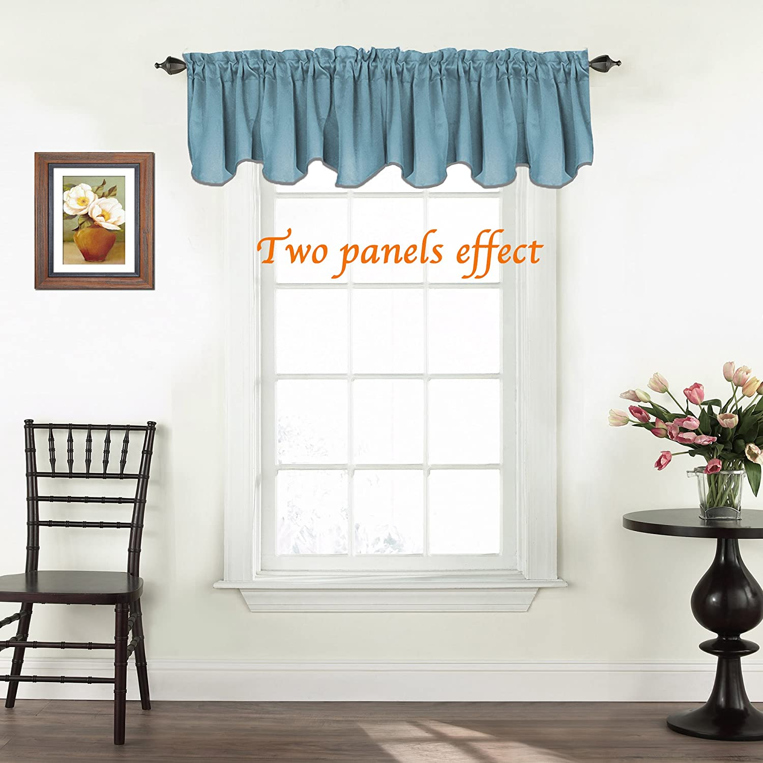 1 Panel Dove Gray Scalloped Window Treatment 52-inch by 18-inch Short Curtains Turquoize Solid Blackout Valance