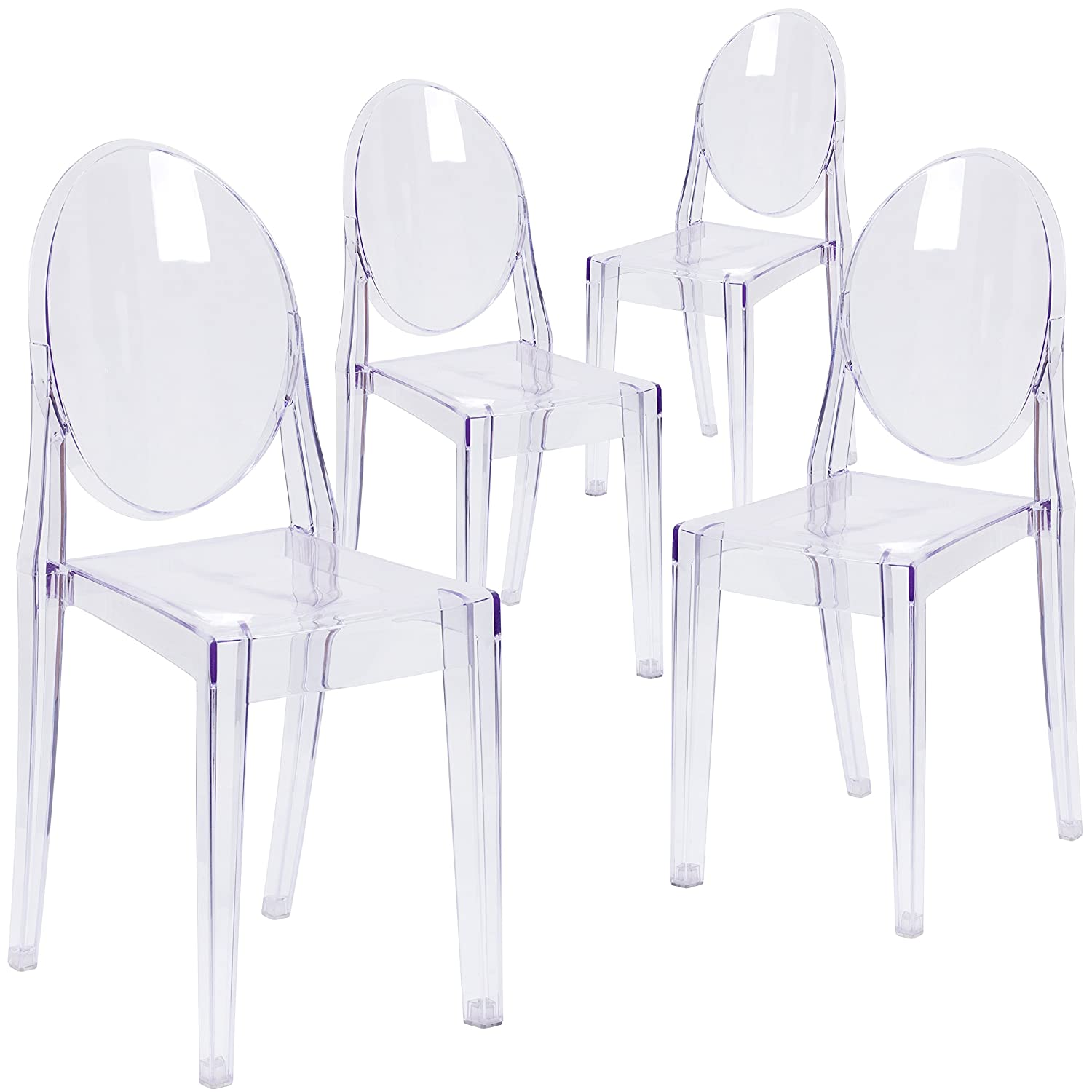 Flash Furniture 4 Pk. Ghost Side Chair in Transparent Crystal