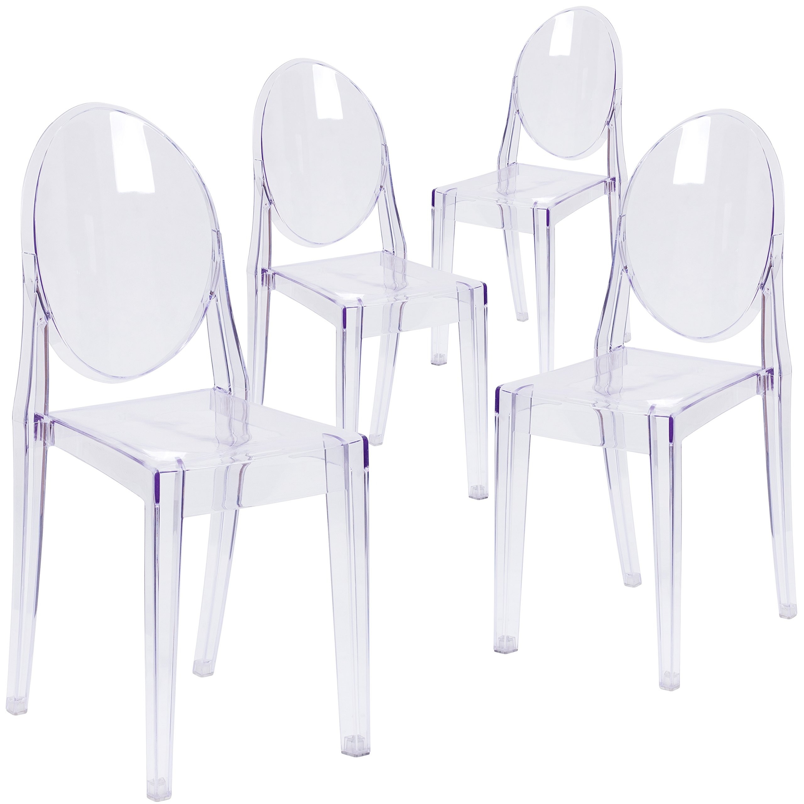 Flash Furniture 4 Pk. Ghost Side Chair in Transparent Crystal by Flash Furniture