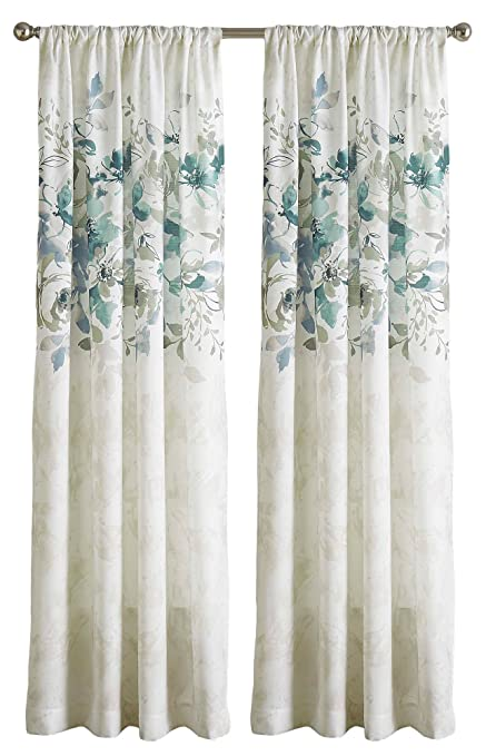 CHF Watercolor Floral Curtain Panel 84quot